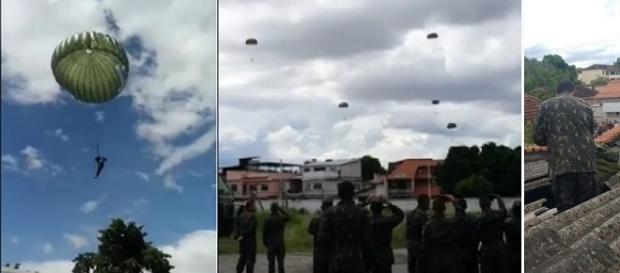Na imagem é possível ver os homens no ar, e um deles sobre o telhado de uma das residências atingidas. (Reprodução/Arquivo pessoal).