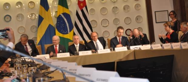 O rei Carlos Gustavo XVI, Michel Temer e Geraldo Alckmin(Foto de Manoel Fernandes).