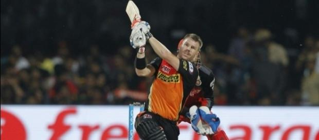 David Warner hits one out of the ground in the opening match of the 2017 Indian Premier League at Hyderabad on Wednesday.
