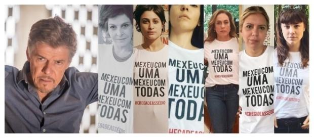 José Mayer e as atrizes que publicaram fotos com camisa de campanha contra assédio (Foto: Reprodução/Instagram das artistas)