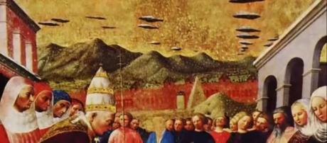 Registros de UFOs são comuns em pinturas da Idade Média (Banco de imagens Google)