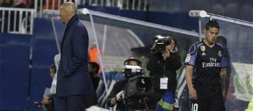 El enfado de James con Zidane al ser sustituido