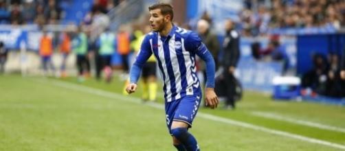 Theo Hernández, en un partido con el Deportivo Alavés esta temporada