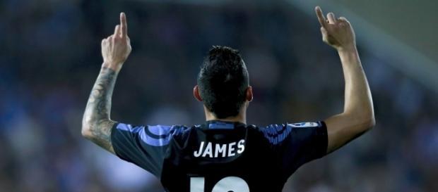 James Rodríguez, ayer tras marcar el primer gol ante el Leganés