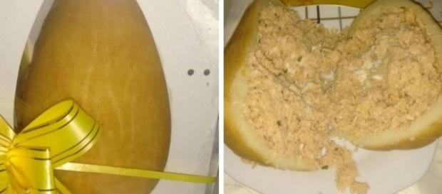 Salgado tipicamente brasileiro vira ovo de Páscoa. Reprodução/Facebook.