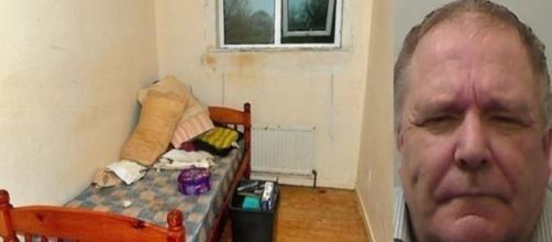Na imagem o quarto onde a vítima viveu todos esses anos, e o agressor que abusava da mesma durante o período.