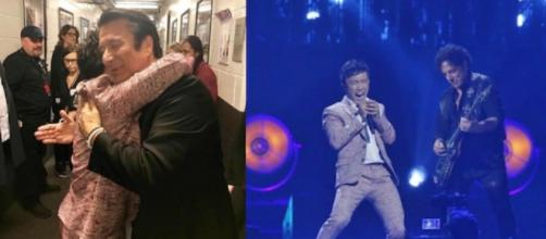 Steve Perry and Arnel Pineda share an embrace backstage at the 2017 Rock & Roll Hall of Fame induction--Arnel Pineda Instagram