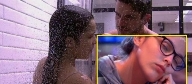 Marcos e Emilly conversam no chuveiro sobre a prova do líder e Marcos dispara para a produção: 'vão se fo...'.