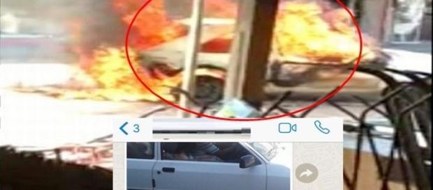 O casal escapou por pouco da multidão descontrolada, que ateou fogo no carro