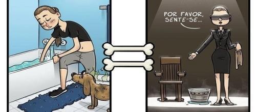 Ilustrações divertidas de como o cão enxerga o mundo.