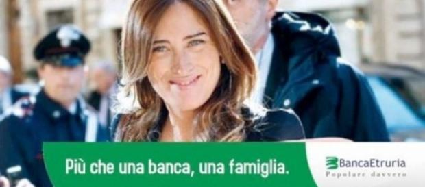 Fotomontaggio in cui Maria Elena boschi viene presa in giro per la vicenda Banca Etruria