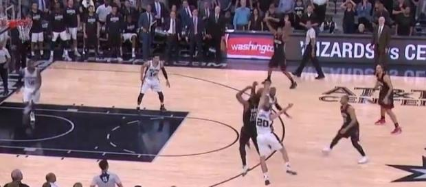 Harden (13) was blocked by Ginobili (20), Youtube, Ximo Pierto channel https://www.youtube.com/watch?v=KKvp7uPTEbI