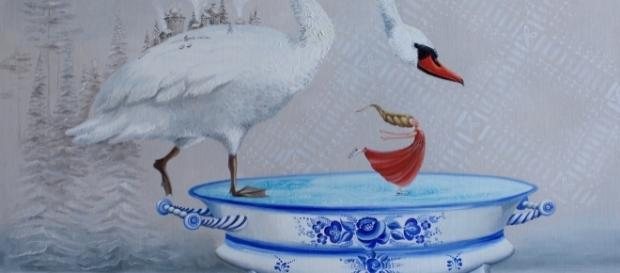 This painting was inspired by Yulia's memories of ice skating as a child. / Photo via Yulia Pustoshkina, used with permission.