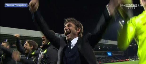 Chelsea manager Antonio Conte celebrating after winning his 3rd consecutive cup in three years. - sky sports