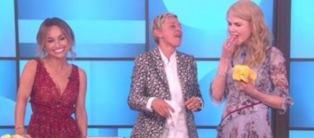 Bad Etiquette: Nicole Kidman spat a piece of focaccia on The Ellen DeGeneres Show (Source: EllenTube)