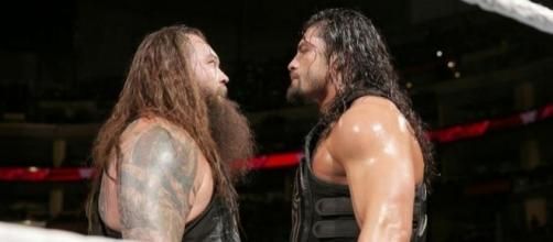 Roman Reigns and Bray Wyatt fought as part of a tag team main event in the Netherlands. [Image via Blasting News image library/hayjayblog.com]