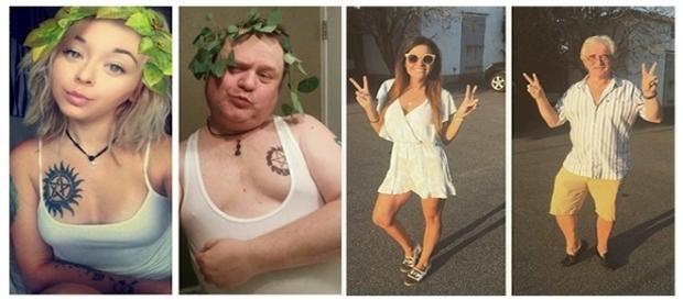 Selfies engraçadas de pais nas redes sociais