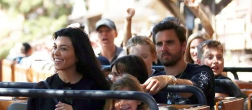 Kourtney Kardashian spent her 38th birthday with her three children and baby daddy, Scott Disick, in Disneyland. (via FameFlynet Pictures)