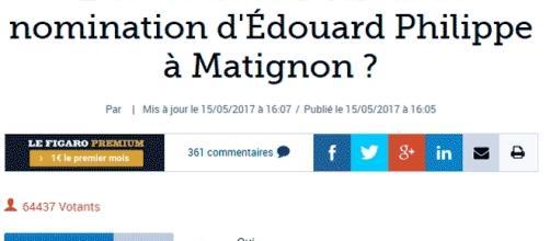 """Le lectorat du Figaro semble majoritairement satisfait de la nomination d""""Édouard Philippe en tant que Premier ministre"""