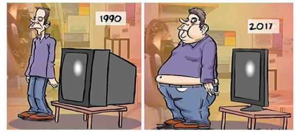 Ilustrações que mostram as mudanças na sociedade