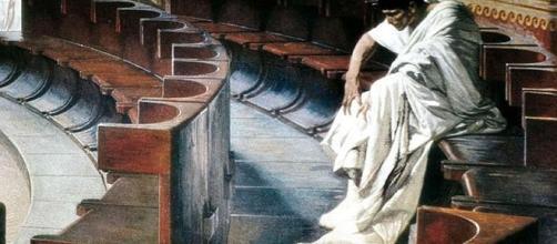 Catilina, nel famoso affresco di Cesare Maccari (1880)