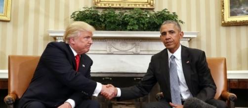 Donald Trump and Barack Obama photo via BN library
