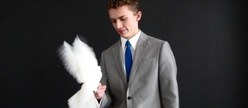 """Young magician Alexander Boyce models his style after the 1960s """"rat pack"""" era. / Photo via Alexander Boyce, used with permission."""