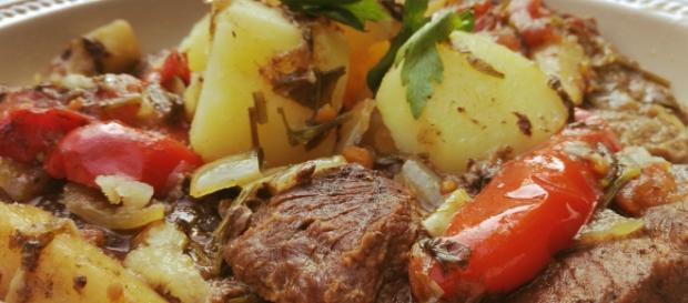 Balkan slow cooked beef in a tomato sauce.