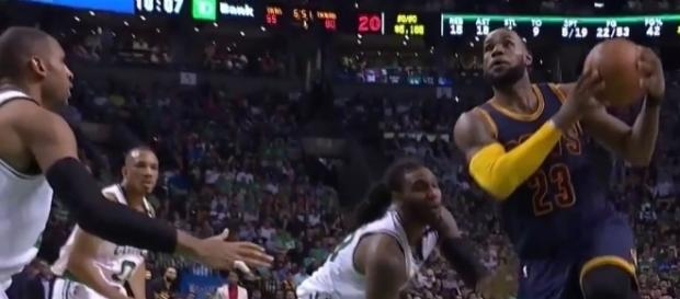 LeBron James in action, Youtube, GD's Latest Highlights channel https://www.youtube.com/watch?v=mBUmqTuRKNg