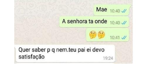 Conversa entre mãe e filho no WhatsApp