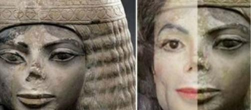 Estátua (esquerda) e comparada ao rosto de Michael Jackson (direita).