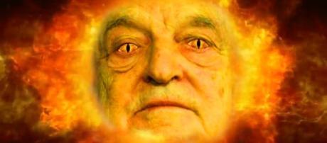 Un fotomontaggio di George Soros