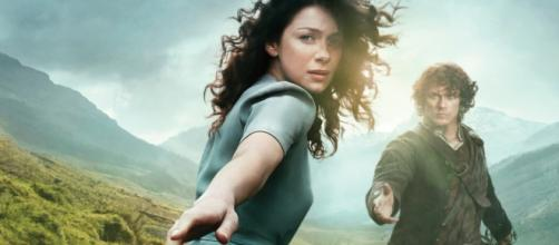 "New cast joins the characters of Jamie and Claire in ""Outlander."" Photo via moviefone.com"