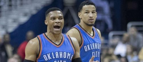 Russell Westbrook and Andre Roberson of the Oklahoma City Thunder. Photo by Keith Allison -- CC BY-SA 2.0