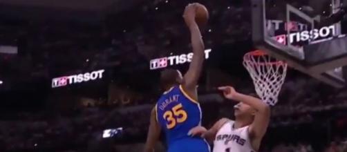 Durant's monster dunk, Youtube, G4NBAVideosHD channel https://www.youtube.com/watch?v=Q9Uf4oaMXbE