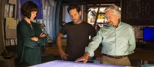 "Evangeline Lilly, Paul Rudd, and Michael Douglas are all returning for ""Ant-Man and the Wasp,"" due in July 2018. (Zade Rosenthal/Marvel/Disney)"