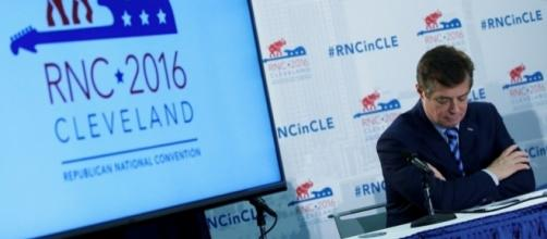 Former Trump campaign manager Paul Manafort at RNC meeting, 2016 / Photo by Carlo Allegri, theatlantic.com via Blasting News library