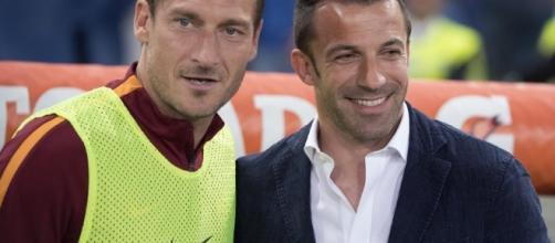 Roma-Juventus: l'abbraccio tra Francesco Totti e Del Piero
