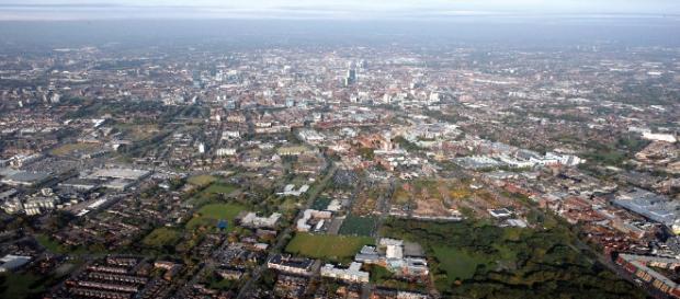 Vue aérienne de Manchester le 12 octobre 2008