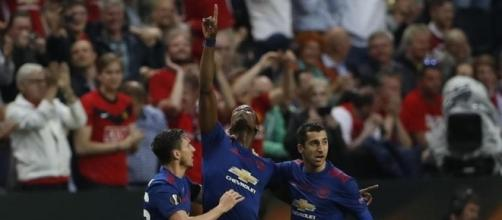 L'esultanza di Pogba dopo il gol del vantaggio del Manchester United sull'Ajax nella finale di Europa League