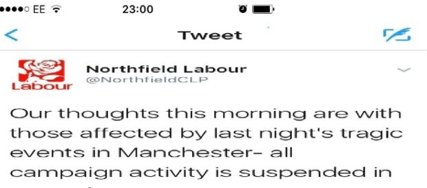 Northfield Labour have been caught campaigning, despite pledging not to in respect of the Manchester attacks