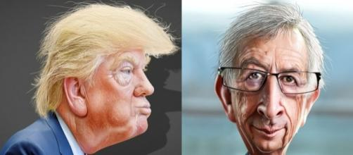 Caricatures Donald Trump & Jean-Claude Juncker via Flickr by DonkeyHotey / CC BY 2.0