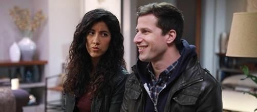 "Stephanie Beatriz and Andy Samberg in this week's finale of ""Brooklyn Nine-Nine."" (SpoilerTV/Fox)"