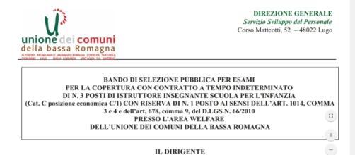 Unione dei Comuni della Bassa Romagna, concorso insegnanti