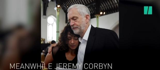 Labour Leader Jeremy Corby with Grenfell survivors. / Image by HuffPostUK via YouTube:https://youtu.be/qArHC9c1arE