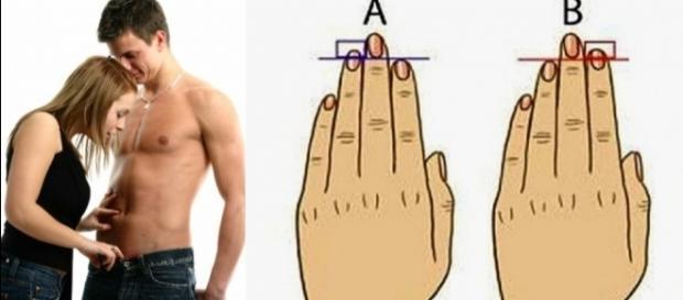 Mão direita revela o tamanho do seu pênis