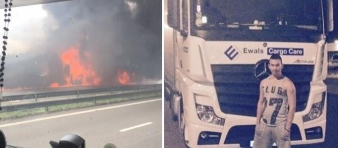 Accident: Un șofer de camion de numai 24 de ani a ars de viu în cabina tirului