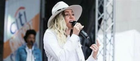 """Miley Cyrus wears shorts, boots, and her Stetson and pours her heart into new songs on her """"Today"""" performance.--personal screenshot edit"""