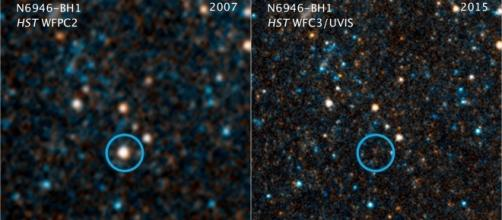 Hubble Space Telescope photos shows N6946-BH1 before and after it imploded to form a black hole. Credits: NASA, ESA, and C. Kochanek (OSU)
