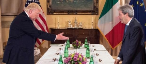 Donald Trump e Paolo Gentiloni (governo.it)